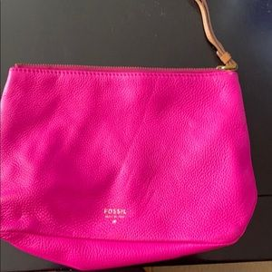Hot pink cosmetic bag